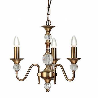 3 Light Multi Arm Ceiling Pendant Chandelier Antique Brass, Crystal