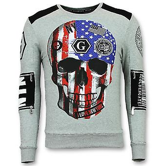 Sweater With Skull - Sweaters Cheap - American Flag - Grey