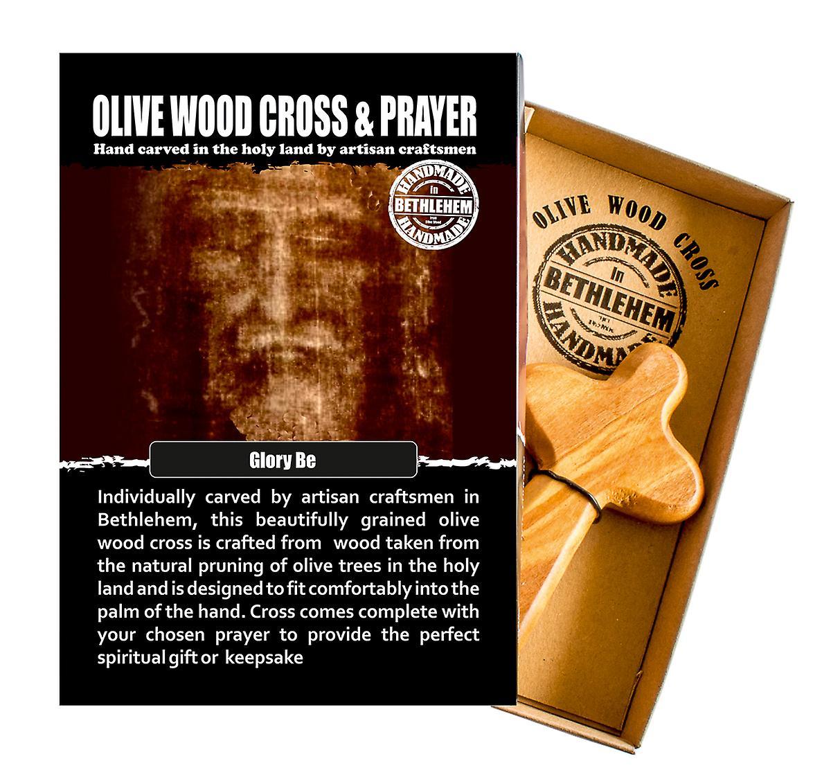 Glory Be Carved Olive Wood Comfort Cross Religious Keepsake Hand Made In Bethlehem