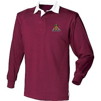 Lancashire Fusiliers-licensierade brittiska armén broderade Långärmad Rugby skjorta