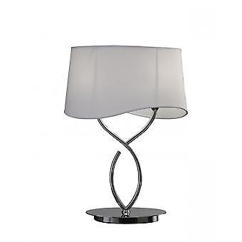 Mantra Ninette bordslampa 2 ljus E14 stor, polerad krom med elfenben vit nyans