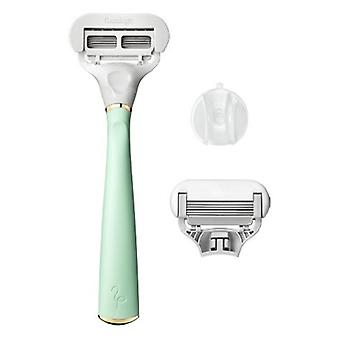 Flamingo Women's 5-blade Razor with Replacement Blade Cartridge - Mint