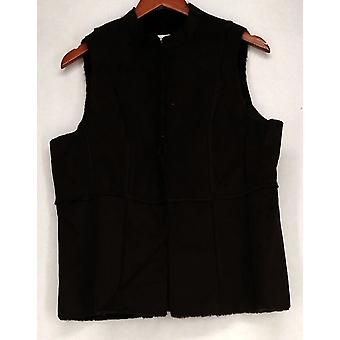 Susan graver faux Suede w/Faux Fur voering bruin vest Womens