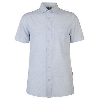 Soviet Mens Short Sleeve Slub Casual Shirt Everyday Chest Pocket