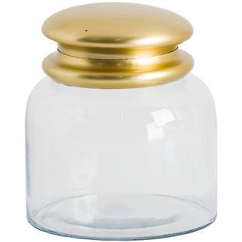 Hill Interiors Medium Brass Lid Glass Storage Pot
