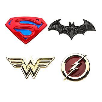 Justice League Superman, Batman, Wonder Woman i Flash Emalia 4-częściowy pin set