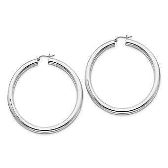 925 Sterling Silver Hollow tube Hinged post Rhodium plated 5.00mm Polished Hoop Earrings Jewelry Gifts for Women
