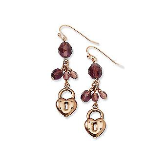 Shepherd hook Copper tone Love Heart and Lock with Purple Crystals Earrings Jewelry Gifts for Women