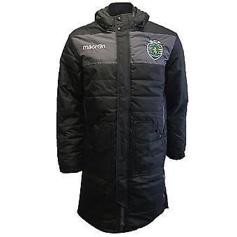 2019-2020 Sporting Lisbon Macron Long Bench Jacket (Black)