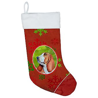 Basset Hound Red and Green Snowflakes Holiday Christmas Christmas Stocking