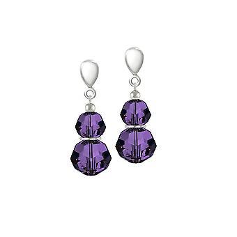 Eternal Collection Echo Purple Velvet Crystal Silver Tone Drop Screw Back Clip On Earrings