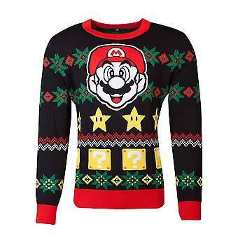 Super Mario Christmas Jumper Knitted Face Logo Official Nintendo Black Unisex