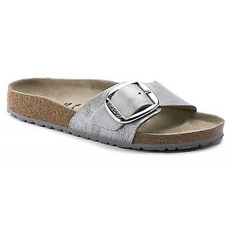 Birkenstock Madrid BIG BUCKLE NL Sandale 1012886 gewaschen Metallic Blau Silber SCHMAL