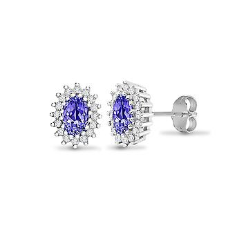 Jewelco London 9ct White Gold Cluster Set Round H I2 0.25ct Diamond and Oval Lilac 1.1ct Tanzanite Cluster Stud Boucles d'oreilles