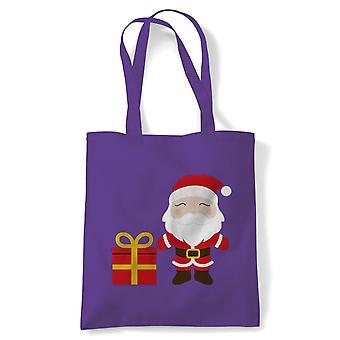 Tegneserie Santa Claus Present tote | Christmas Xmas HoHoHo sesong hilsener Merry | Gjenbrukbare shopping Cotton Canvas Long håndtert Natural shopper miljøvennlig mote