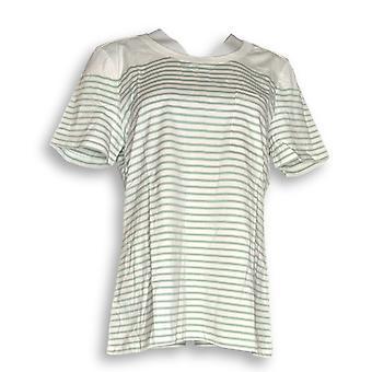 C. wonder vrouwen ' s top korte mouw gestreepte brei T-shirt groen A277315