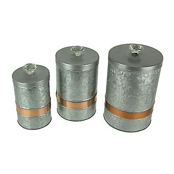 Grey Galvanized Metal 3 Piece Copper Banded Lidded Storage Kitchen Canister Set