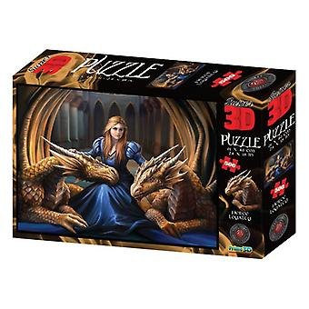 Anne Stokes Fierce Loyalty Girl w/Dragons 500 Piece 3D-Look jigsaw puzzle (kc)