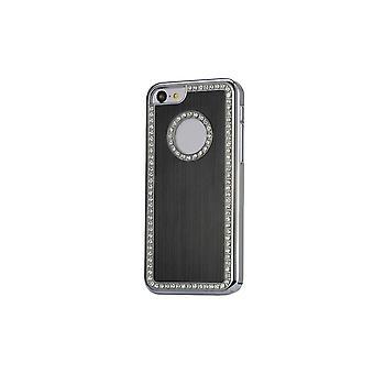 Romp voor iPhone 5c Zwart geborsteld aluminium en strass