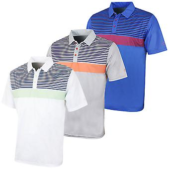 Island Green Mens Printed Stripe Golf Polo Shirt