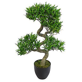 75cm Artificial Podocarpus Bonsai Tree With Black Pot - Premium Range