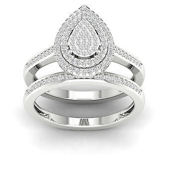 Igi-certifierad s925 silver 0.33ct tdw diamant päron kluster dubbla halo brud set