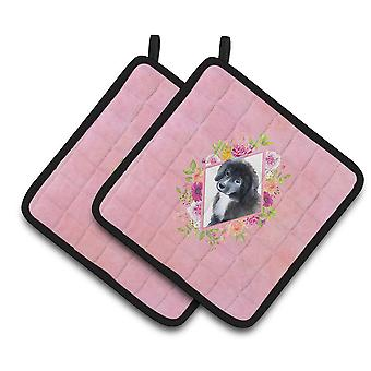 Newfoundland Puppy Pink Flowers Pair of Pot Holders