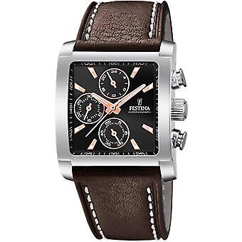 Horloge van Festina CHRONO F20424-4 - stalen zwarte Armband leder bruin man