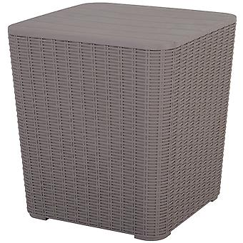 Rattan Effect Side Table w/ Storage Compartment Lift-Up Table Foot Pads Weather-Resistant Outdoor Garden PP Weather-Resistant 43x39cm Grey