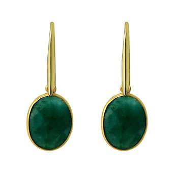 Gemshine örhängen OVAL grön smaragd ädelstenar 925 silver eller dyrbara guldpläterade