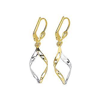 14k geel en wit goud Twee toon Markies Flat Twist Long Drop Bungelen Oorbellen Sieraden Geschenken voor vrouwen