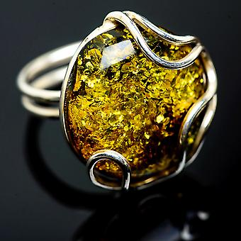 Large Baltic Amber Ring Size 9 Adjustable (925 Sterling Silver)  - Handmade Boho Vintage Jewelry RING992235