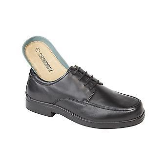 Roamers Black Softie Leather Xxx Extra Wide Tie Shoe