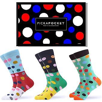 Men's bright dot pattern gift box 3 pairs of socks