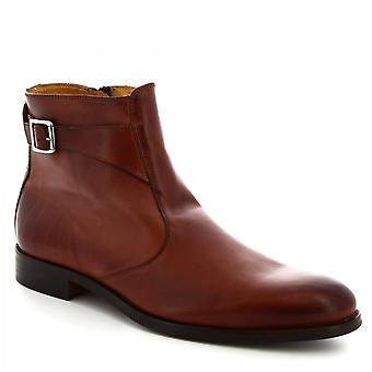 ليوناردو أحذية الرجال & s أحذية الكاحل المصنوعة يدويا في جلد العجل البني مع الرمز البريدي الجانب