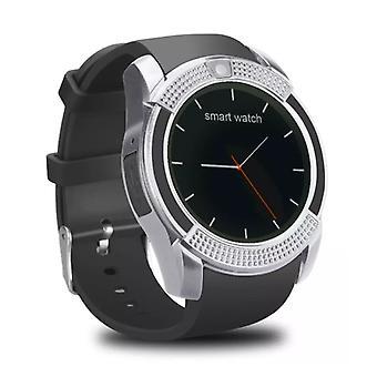ting sertifisert® original V8 smartwatch HD smarttelefon fitness sport aktivitet tracker se OLED iOS iPhone Android Samsung Huawei Sølv