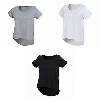 SF Womens/Ladies Plain Short Sleeve T-Shirt With Drop Detail