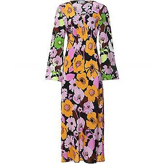 RIXO Rae Floral Swirl Silk Dress
