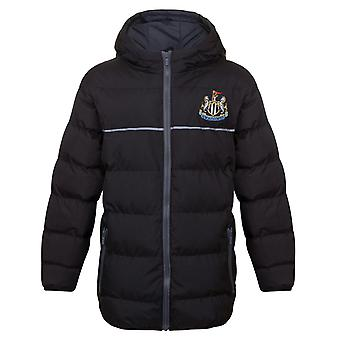 Newcastle United FC Official Football Gift Boys Quilted Hooded Winter Jacket