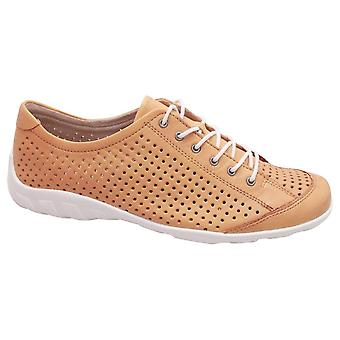 Remonte Yellow Perforated Soft Leather Lace Up Trainers