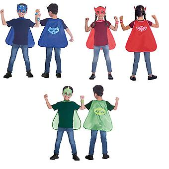 PJ Masques Costume 3-Piece Kids Pajama Heroes Superhero Cloak Mask Bracelet 4-8 Ans