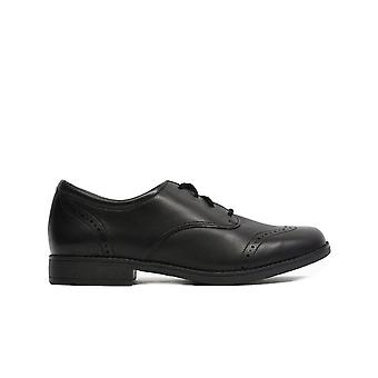 Clarks Sami Walk Youth Black Leather Girls Lace Up Brogue School Shoes
