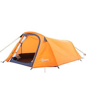 Outsunny 2 Person Folding Camping Tent Couple Sun Shelter W/ Carrying Bag - Orange