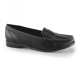 Comfort Plus Michaela Ladies Leather Wide Fit Loafer Shoes Black