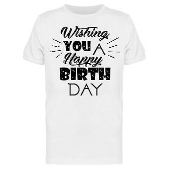 Toivotan sinulle Hyvää syntymäpäivää Tee Men's -Image Shutterstock