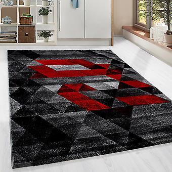 ShortFlor Designer tæppe trekant mønster stue tæppe rød grå smeltet