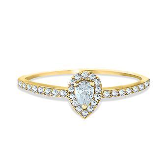 خاتم الماس قطع الكمثرى | 18K الذهب