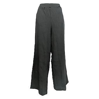 Denim & Co. Frauen's Hose Strand breite Bein W / Vorwärts Nähte schwarz A277855