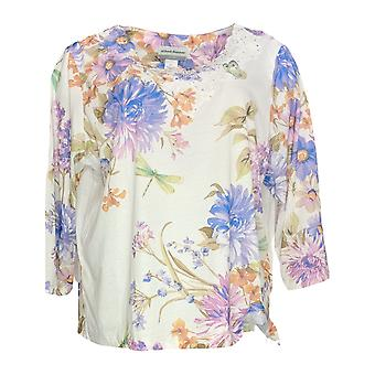 Alfred Dunner Women's Petite Top Embellished Floral Printed 3/4 Sleeve White
