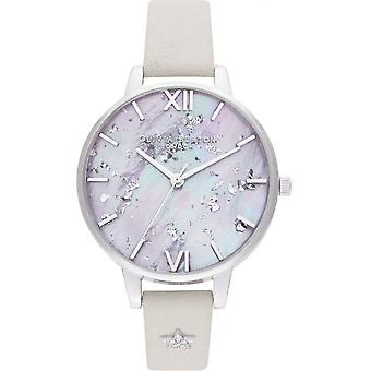 Olivia Burton Watches Ob16gd42 Celestial Star Mother Of Pearl Blush & Silver Leather Ladies Watch